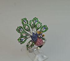 18k MULTI GEM PINK SAPPHIRE GREEN TSAVORITE DIAMOND PEACOCK BIRD ANIMAL RING