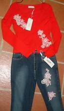 New Ricci Andrist Red Jersey Twin Set Top Cardigan 46 Italy Gorgeous!
