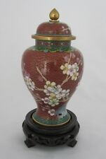 "6 1/2"" Chinese Beijing Cloisonne Keepsake Cremation Urn Red Floral Design - New"