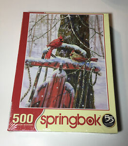 Springbok Cardinals Peaceful Moments Puzzle Winter Snow 500 Piece New Sealed