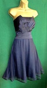 New MONSOON Uk 12 Blue Satin Tulle Strapless Short Fit&Flare Evening Prom Dress