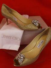Jimmy Choo Letina Glitter Gold Jeweled Crystals Mirror Heel PUMPS 40 1k