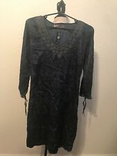 Nu By Staff-Woman Dress Unique Embroidered Long Sleeve Blue Black Size Large L