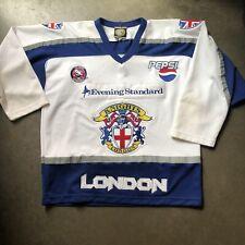 Men's Vintage London Knights Defunct Away White Blue BISL Ice Hockey Jersey Sz L