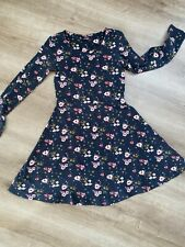 Kleid Tunika Langarm Kleid Schwarz mit Rosa Blumen 🌷 MusterGr 134/140