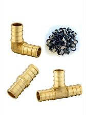 130 Pcs 12 Pex Brass Crimp Fittings With Copper Rings Certified Lead Free