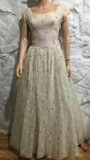 New listing Amazing Vintage 1950's Party Dress Gown Sheer Flocked Floral Pink