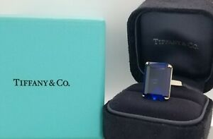 Tiffany & Co 18K WHITE GOLD engagement ring Blue sapphire 15.82ct. Emerald cut