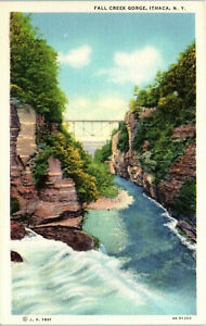 Ithaca, New York, Fall Creek Gorge - Postcard (B18)