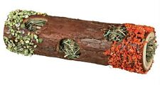 Wooden Tube Tunnel with Hay & Edible Carrot & Pea Hamsters Mice Gerbils 20cm