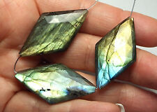 3 pcs LABRADORITE 36mm Faceted Diamond Beads AAA NATURAL /P14