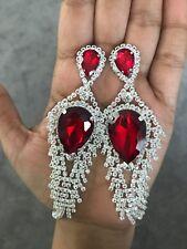 "5"" Red Big Silver Dangle Drop Rhinestone Prom Long Crystal Pageant Earrings"