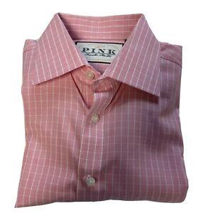 Thomas Pink Jermyn Street London Size 15 Pink/White Striped Button Down Shirt