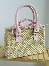 Samantha Thavasa weaved straw handbag pink