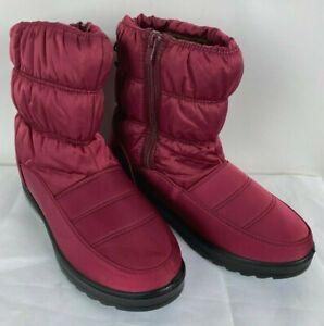 NEW Womens Burgundy Waterproof Nylon Side Zip Fur Lined Warm Winter Boots Sz 8