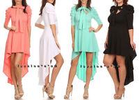 Hi Lo Skirt Mini Maxi Dress Mock Neck Tie Puff Shoulder Tunic Top