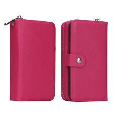 Rose red  For Samsung Note 5 Zipper PU Leather Wallet Case Card Cash Holder US