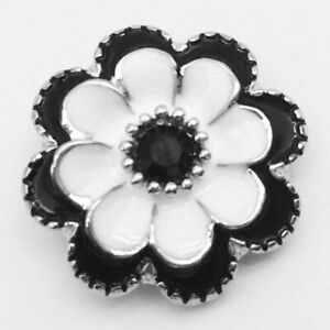 Noosa Chunks Ginger Style Snap Button Charms Black White Flower Rhinestone 20mm