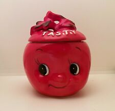 Vintage Enesco Apple Face Anthropomorphic Condiment Jar Tasty Retro Ceramic