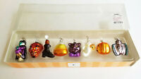 VINTAGE SET of 8 DEPT 56 HALLOWEEN GLASS CHRISTMAS ORNAMENT * NEW IN BOX