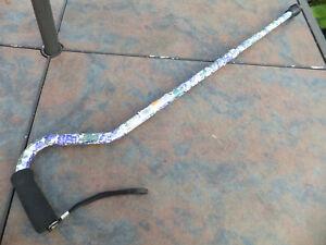 NOS DMI Duro-Med Ind. Adjustable Off-Set Aluminum Cane - PURPLE FLOWER Pattern