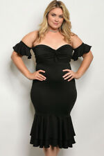 Women's Plus Size Black Off Shoulder Cocktail Dress with Ruffled Accents 2X NEW