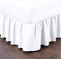 White Bed Skirt Dust Ruffle Split Corner 100% Microfiber Queen/King All Size