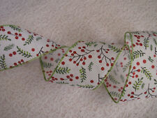 Christmas Ribbon, White with Christmas Holly, 2 1/2 In Wide, Wired Edge, 5 YARDS