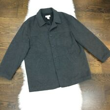 J Crew Men Pea Coat XL Top Coat Thinsulate Quilted Lining Lined Wool Blend Gray