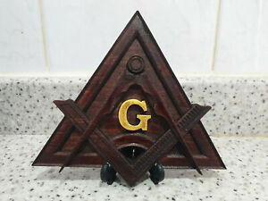 Solid Carved Masonic Compass and Square Freemason Gift Grand Master Lodge
