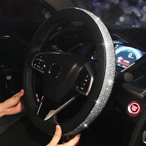 Universal 38CM Bling Crystal Diamond + Leather Car Truck Steering Wheel Cover