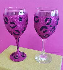 2 Rosa Leopardo Joya vino Brillo Gafas cumpleaños regalo de Navidad Presente
