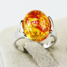 Amber Gemstone Fashion New  Jewelry 925 Silver Men Women Ring Size 6
