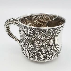 Antique Gorham Sterling Repousse Floral Tea Mug Cup