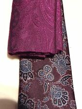 DUCHAMP -LONDON FAB PURPLE/GREY/BLUE FLORAL SLIM SILK TIE + POCKET SQUARE SET