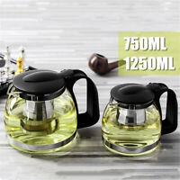 750/1250ML Glass Heat Resistant Clear Teapot Infuser Filter Flower Green Tea Pot