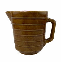Vintage USA Pottery Stoneware Brown Glaze Ribbed Water Milk Batter Gravy Pitcher