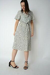 New Ex Roman White+Black Spot Print Frill Trim Neck Belted Midi Dress Size 10-18