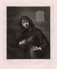 "Attractive REMBRANDT 1800s Etching ""Young Man with Weapons"" SIGNED Framed COA"