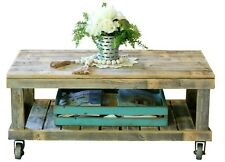 Natural Vintage Wheel Coffee Table