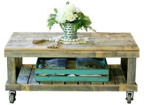 Natural Vintage Wheel Coffee Table