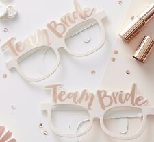 Team Bride  HEN PARTY GLASSES x 8 Rose Gold Photo Booth Props Classy Hen Do