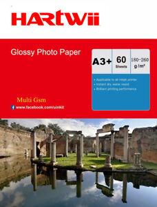 A3 Plus A3+ 180 / 240 / 260 Gsm High Gloss Photo Inkjet Paper 13x19 - 60 Sheet