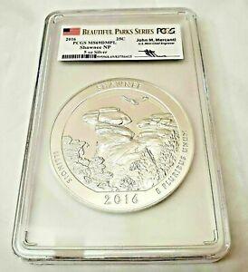 2016 Shawnee Mercanti Signed Beautiful Parks Quarter 5 oz Silver PCGS MS69 DPML