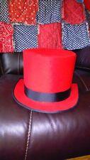 Top Hat -red felt -Bridal -cosplay -wedding -Gothic -steampunk -hand crafted
