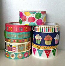 10 Pc. Balloons, Candles, Numbers, Confetti, Presents Crafting Washi Tapes