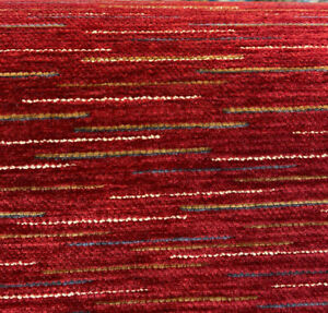 Agra Red Cinnabar Lush Chenille Upholstery Fabric By The Yard