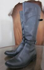 LL Bean Boots Tall Black Leather Zip-Up Dbl Strap Buckle Riding Classic Roper 7
