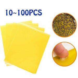 Up 100PCS Yellow Sticky Trap Insect Bug Glue Paper Strip Killer Fly Aphids Wasp