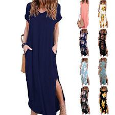 Womens Summer V Neck Boho Floral Maxi Dress Party A-line Beach Pocket Sundress